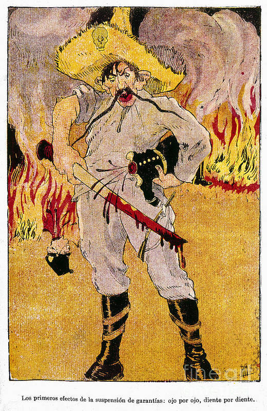 1910s Print featuring the painting Mexico: Political Cartoon by Granger