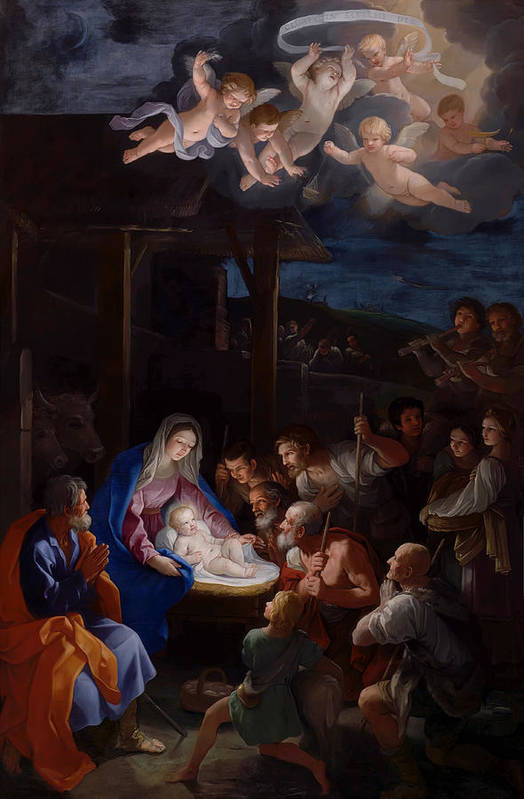 Guido Reni Print featuring the painting Adoration Of The Shepherds by Guido Reni