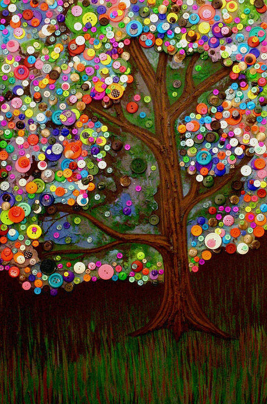 Button Print featuring the painting Button Tree 0007 by Monica Furlow