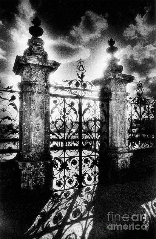 Gate; Wrought Iron; Posts; Pillars; Entrance; Portal; Grand; Grandiose; French; Metalwork; Ornate; Atmospheric; Spooky; Eerie; Fairytale; Moonlit; Moonlight; Dramatic; Portal; Castle; Renaissance; Baroque Print featuring the photograph Chateau De Carrouges by Simon Marsden