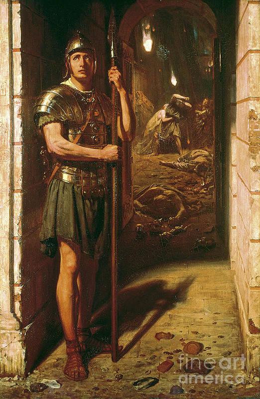 Faithful Unto Death Print featuring the painting Faithful Unto Death by Sir Edward John Poynter
