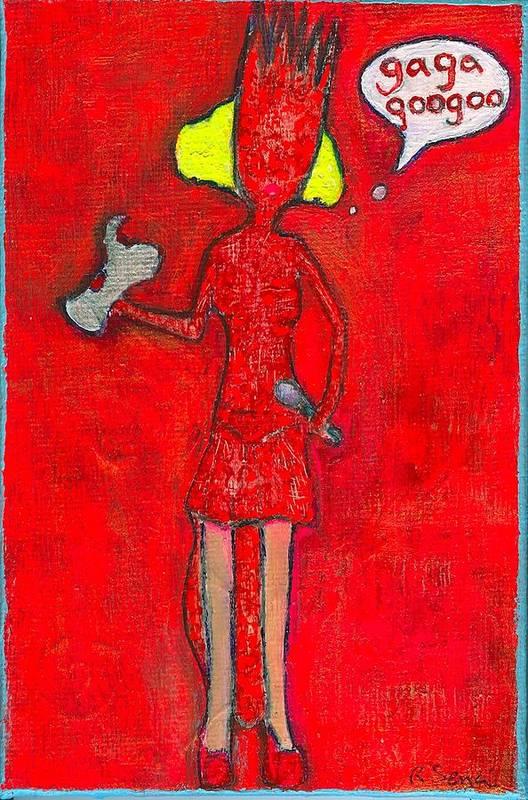 Lady Gaga Print featuring the painting Gaga Googoo by Ricky Sencion