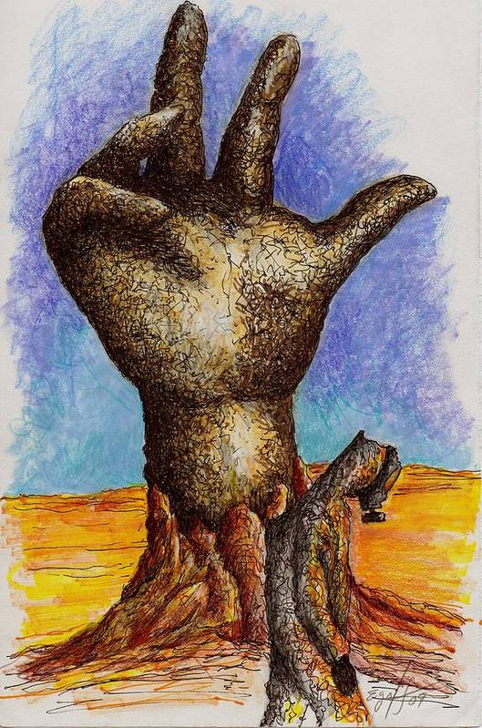 Surreal Print featuring the drawing Hand Of Desolation by Douglas Egolf