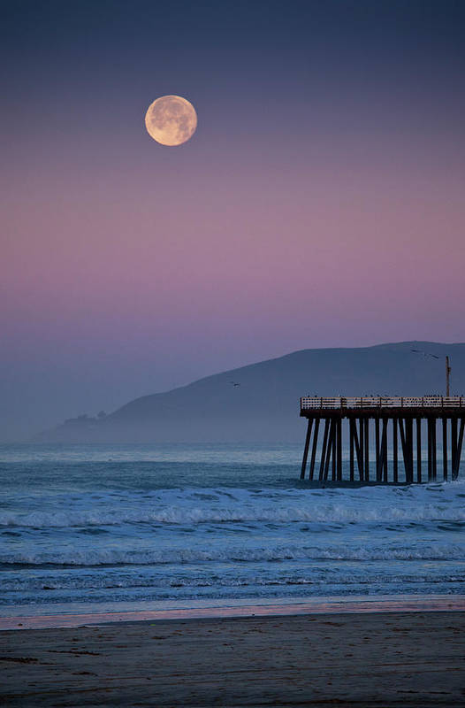 Vertical Print featuring the photograph Moonset At Pismo Beach by Mimi Ditchie Photography