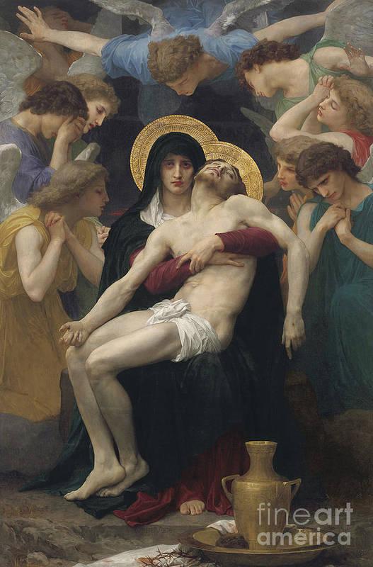Pieta Print featuring the painting Pieta by William-Adolphe Bouguereau