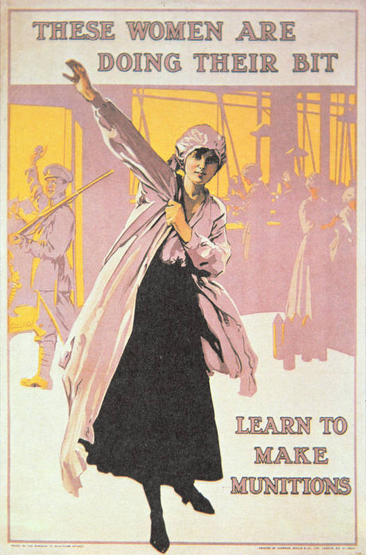 World War One;first World War;ww1;wwi;1st;home Front;propaganda;female;woman;worker;working;munitions Factory;overall;war Effort;industry;labour;labourer;labourers;great War;morale;advert;advertising;advertisement Print featuring the painting Poster Depicting Women Making Munitions by English School
