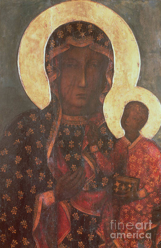 The Print featuring the painting The Black Madonna Of Jasna Gora by Russian School
