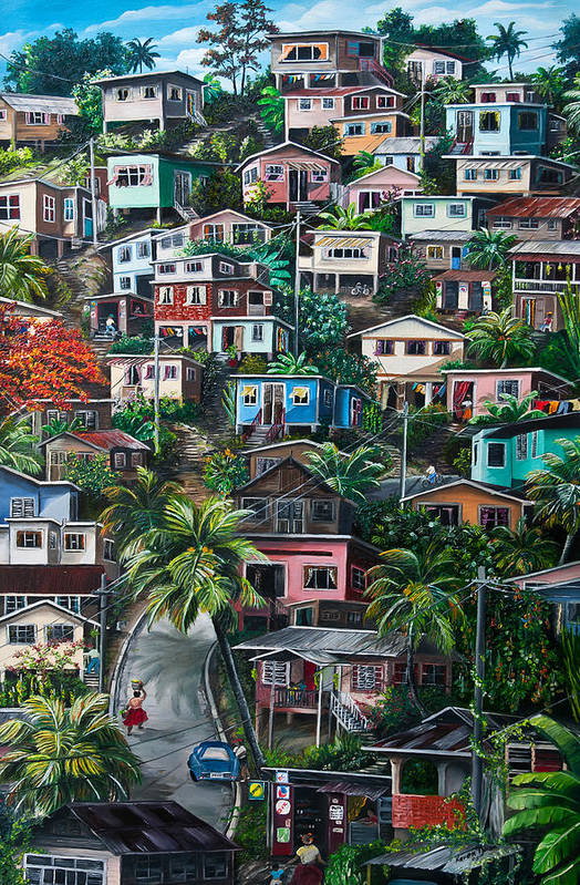 Landscape Painting Cityscape Painting Houses Painting Hill Painting Lavantille Port Of Spain Painting Trinidad And Tobago Painting Caribbean Painting Tropical Painting Caribbean Painting Original Painting Greeting Card Painting Print featuring the painting The Hill   Trinidad by Karin Dawn Kelshall- Best