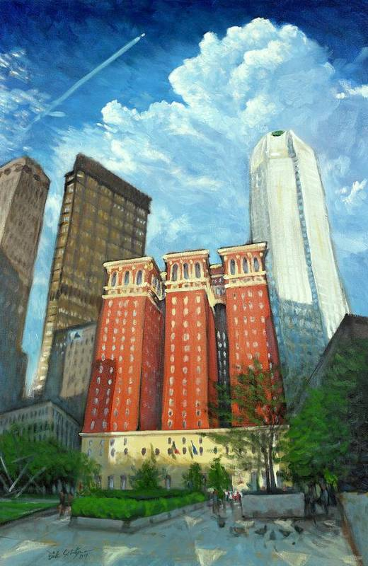 Cityscape Print featuring the painting The Omni William Penn Hotel by Erik Schutzman