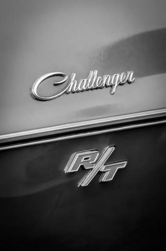 1970 Dodge Challenger Rt Convertible Emblem Print featuring the photograph 1970 Dodge Challenger Rt Convertible Emblem by Jill Reger
