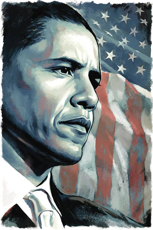 Barack Obama Paintings Print featuring the painting Barack Obama Artwork 2 by Sheraz A