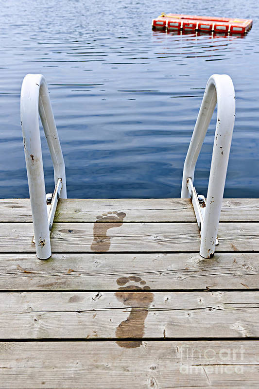 Footprints Print featuring the photograph Footprints On Dock At Summer Lake by Elena Elisseeva