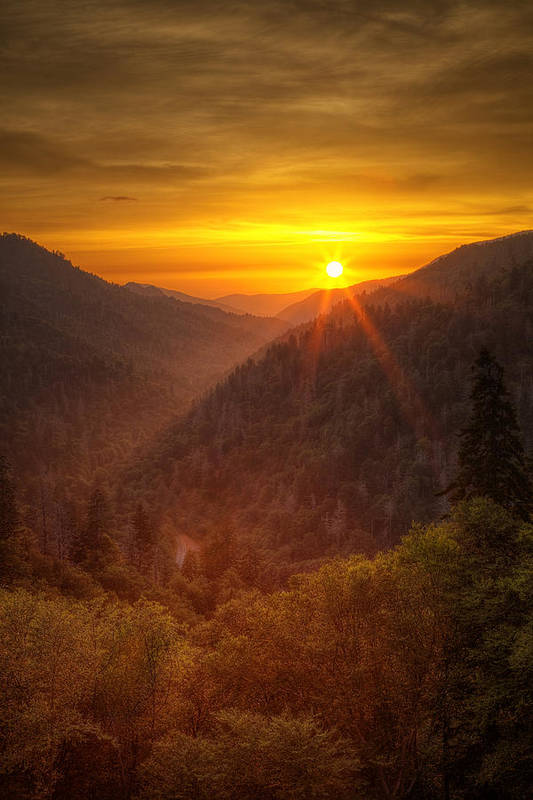 Smokies Print featuring the photograph Last Rays by Andrew Soundarajan