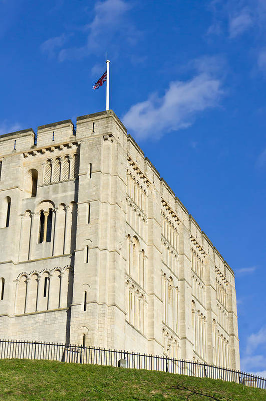 Ancient Print featuring the photograph Norwich Castle by Tom Gowanlock