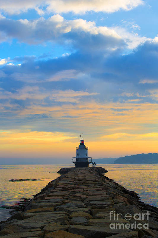 Lighthouse Print featuring the photograph Sunrise At Spring Point Lighthouse by Diane Diederich