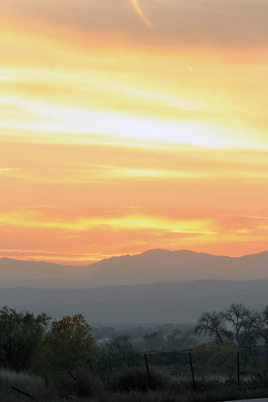 Sunset Print featuring the photograph Sunset Over The Rockies by Emily Clingman