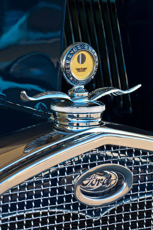 1931 Model A Ford Deluxe Roadster Print featuring the photograph 1931 Model A Ford Deluxe Roadster Hood Ornament by Jill Reger