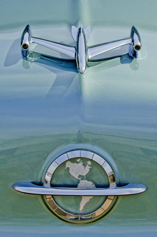 1954 Oldsmobile Super 88 Print featuring the photograph 1954 Oldsmobile Super 88 Hood Ornament by Jill Reger