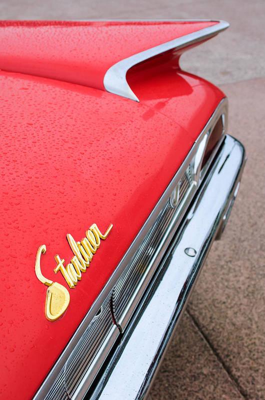 1960 Ford Galaxie Starliner Taillight Emblem Print featuring the photograph 1960 Ford Galaxie Starliner Taillight Emblem by Jill Reger