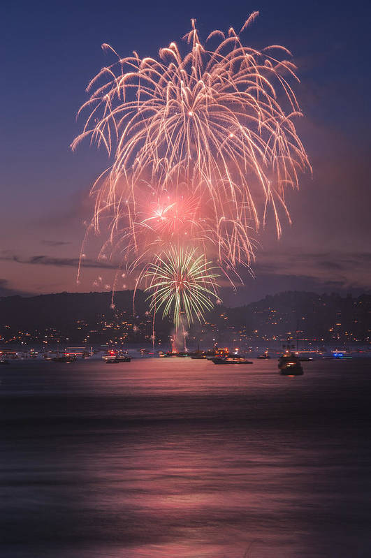 July 4th Print featuring the pyrography 2014 4th Of July Firework Celebration. by Jason Choy