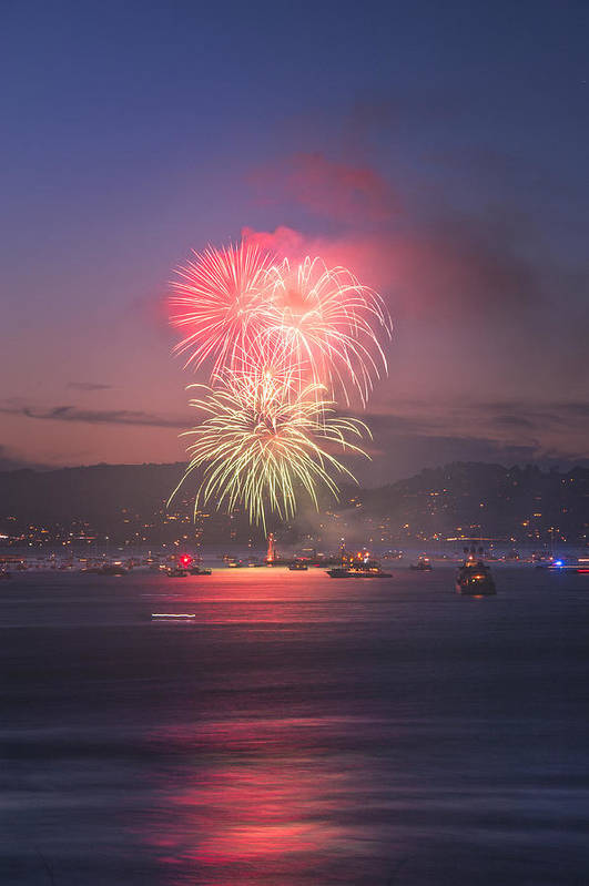 July 4th Print featuring the photograph 2014 4th Of July Firework Celebration. by Jason Choy