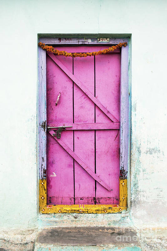 Old Print featuring the photograph A Pink Door by Tim Gainey