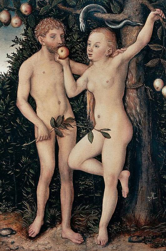 Painting Print featuring the painting Adam And Eve by Lucas Cranach Elder
