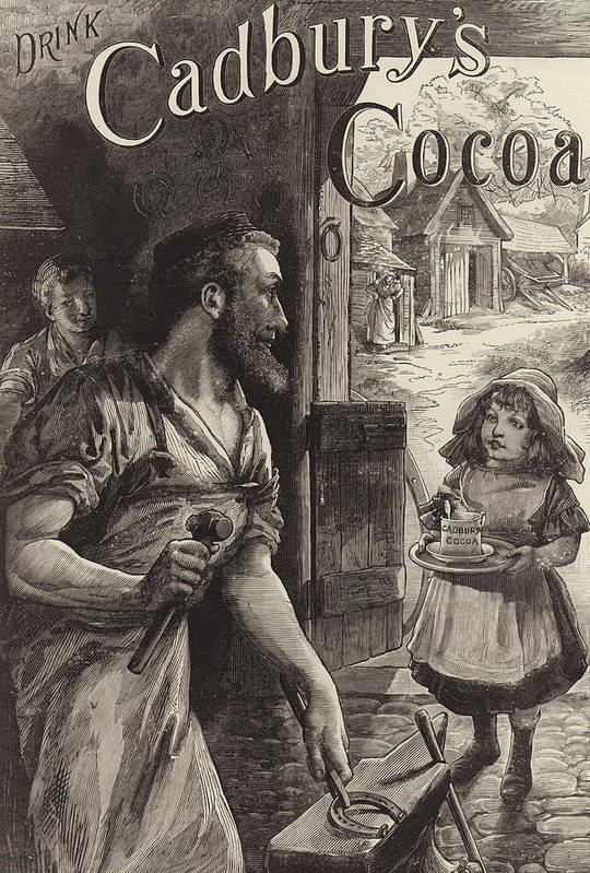 Blacksmiths Print featuring the drawing Advertisement For Cadburys Drinking Cocoa by English School