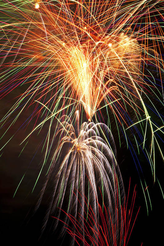 4th Print featuring the photograph Amazing Fireworks by Garry Gay