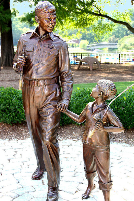 Andy Griffith Print featuring the photograph Andy And Opie Statue Nc by Frank Savarese