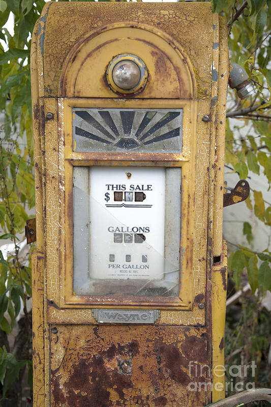Abandoned Print featuring the photograph Antique Gas Pump by Peter French