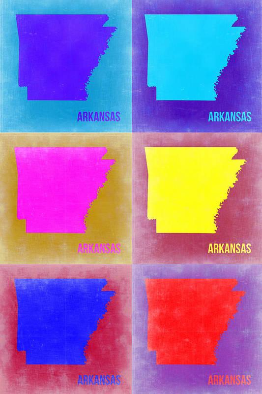 Arkansas Map Print featuring the painting Arkansas Pop Art Map 2 by Naxart Studio