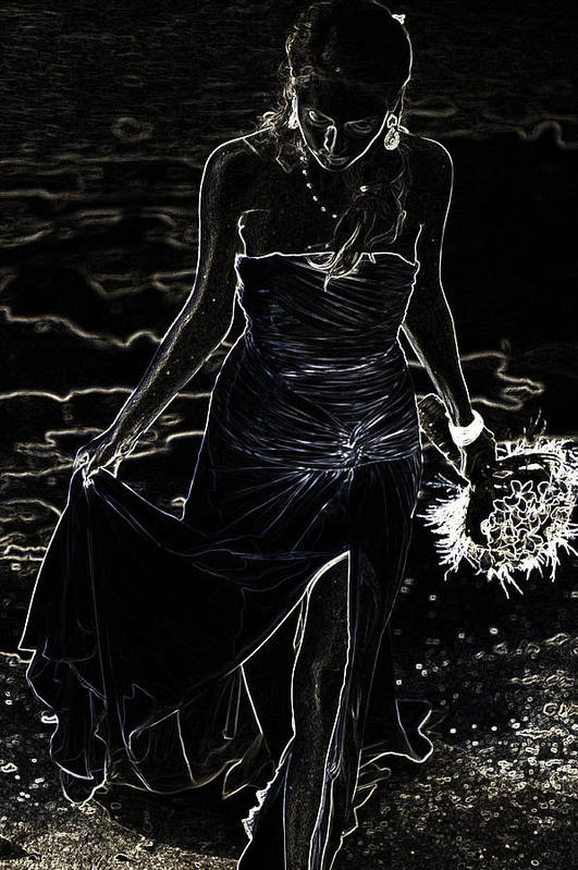 Woman Print featuring the photograph As Aphrodite Coming From Sea Foam. Black Art by Jenny Rainbow