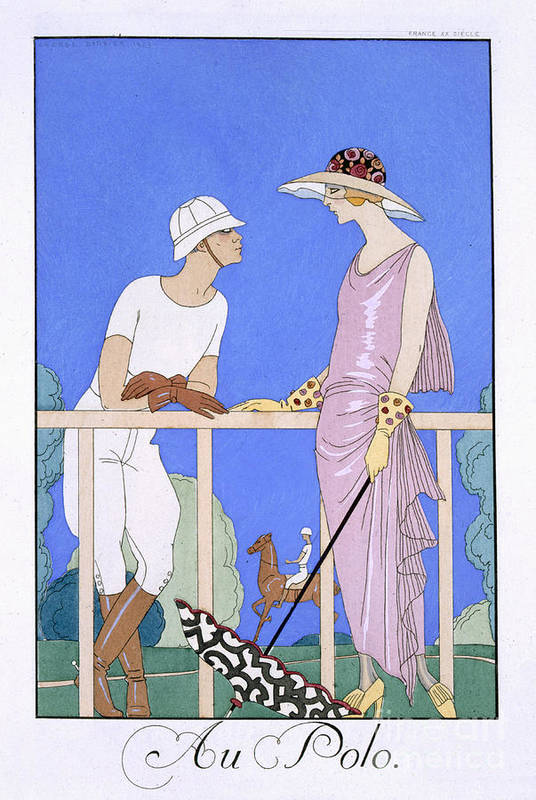 Au Polo Print featuring the painting At Polo by Georges Barbier