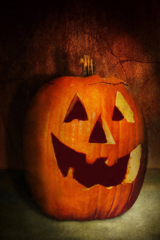Autumn Print featuring the photograph Autumn - Halloween - Jack-o-lantern by Mike Savad