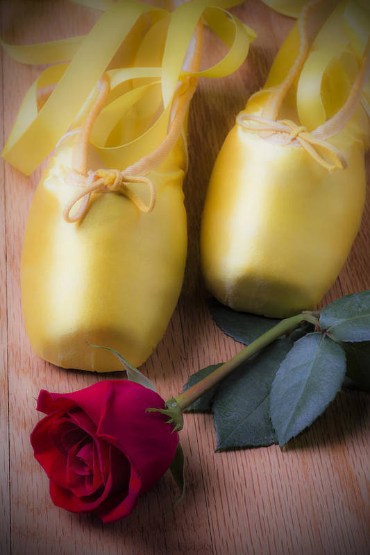 Ballet Shoes Shoe Print featuring the photograph Ballet Shoes With Red Rose by Garry Gay