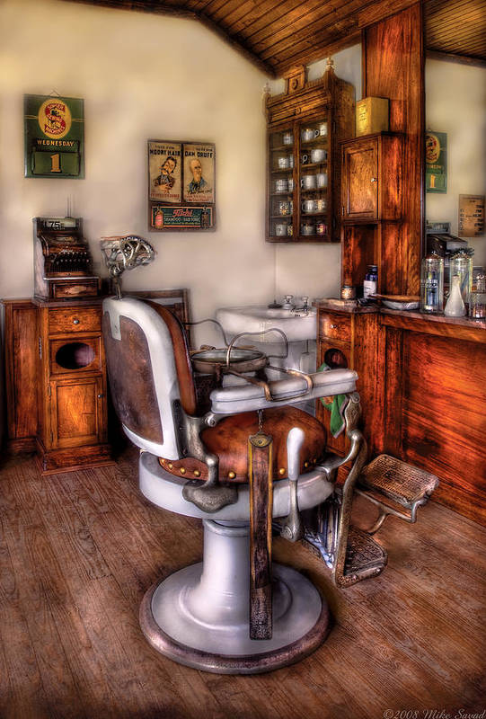 Barber Print featuring the photograph Barber - The Barber Chair by Mike Savad