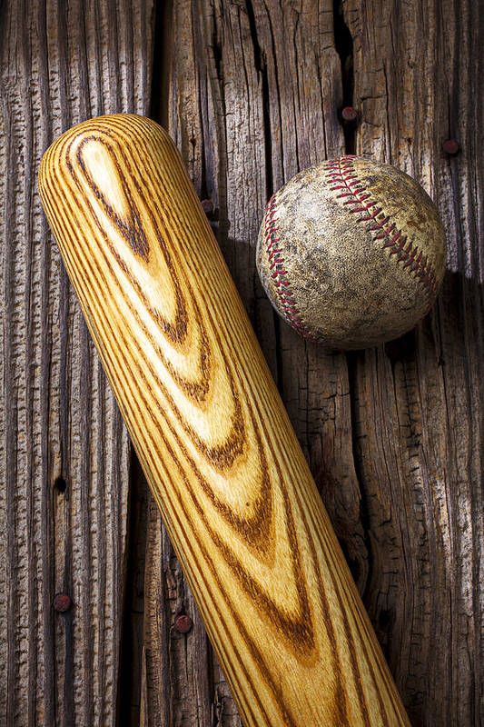 Bat Print featuring the photograph Baseball Bat And Ball by Garry Gay
