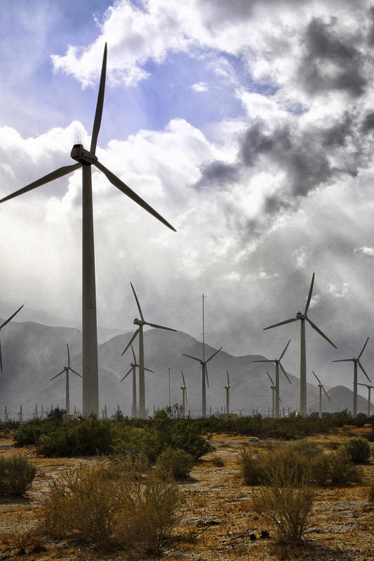 Windmills Print featuring the photograph Beneath The Clouds Palm Springs by William Dey
