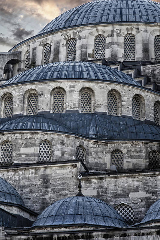 Blue Mosque Print featuring the photograph Blue Dawn Blue Mosque by Joan Carroll