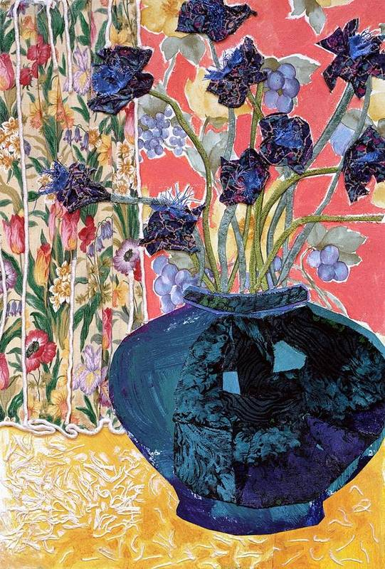 Flowers In A Vase Print featuring the mixed media Blue In Blue by Diane Fine