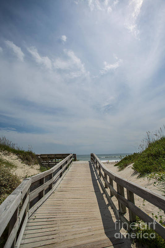 Ocracoke Print featuring the photograph Boardwalk To The Beach by Kay Pickens