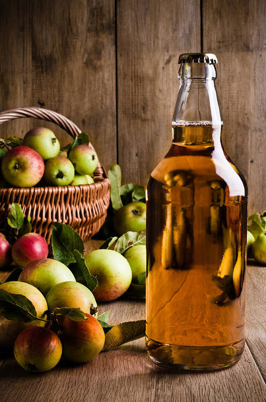 Cider Print featuring the photograph Bottled Cider With Apples by Amanda Elwell