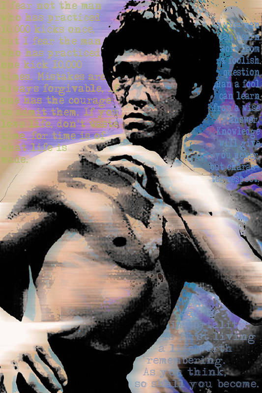 Bruce Lee Print featuring the painting Bruce Lee And Quotes by Tony Rubino