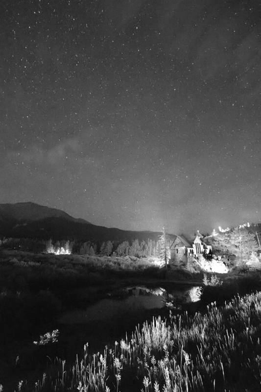 Old Churches Print featuring the photograph Chapel On The Rock Stary Night Portrait Bw by James BO Insogna