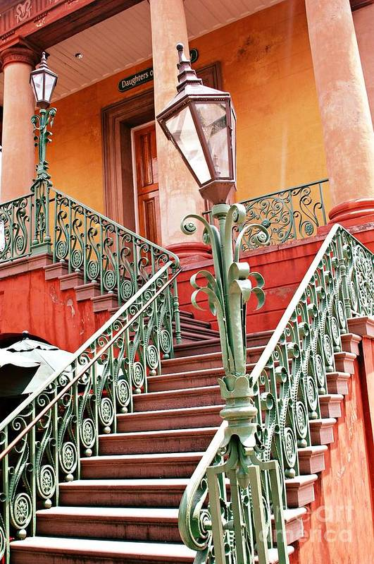 Charleston Aqua Teal Staircase Print featuring the photograph Charleston Staircase Street Lamps Architecture by Kathy Fornal