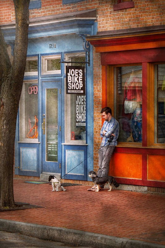 Baltimore Print featuring the photograph City - Baltimore Md - Waiting By Joe's Bike Shop by Mike Savad