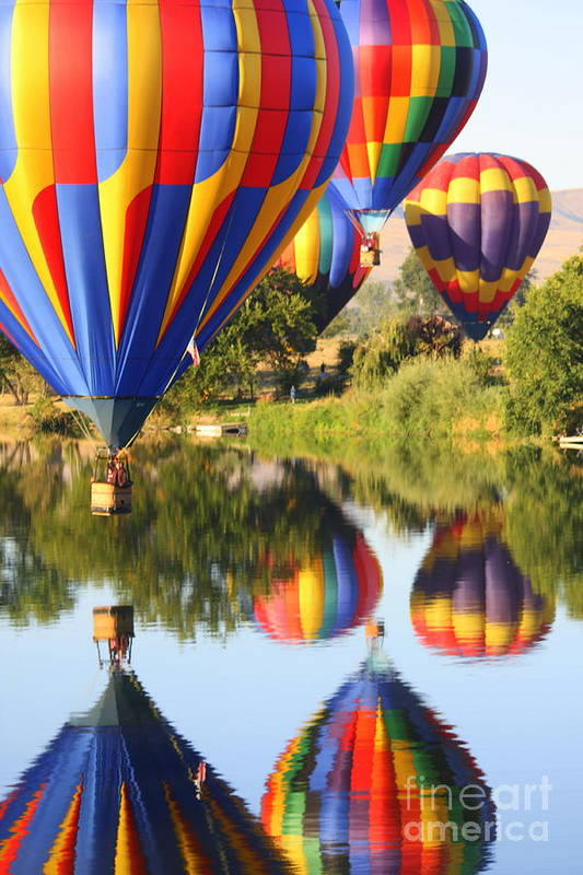 Hot Air Balloon Print featuring the photograph Colorful Balloons Fill The Frame by Carol Groenen