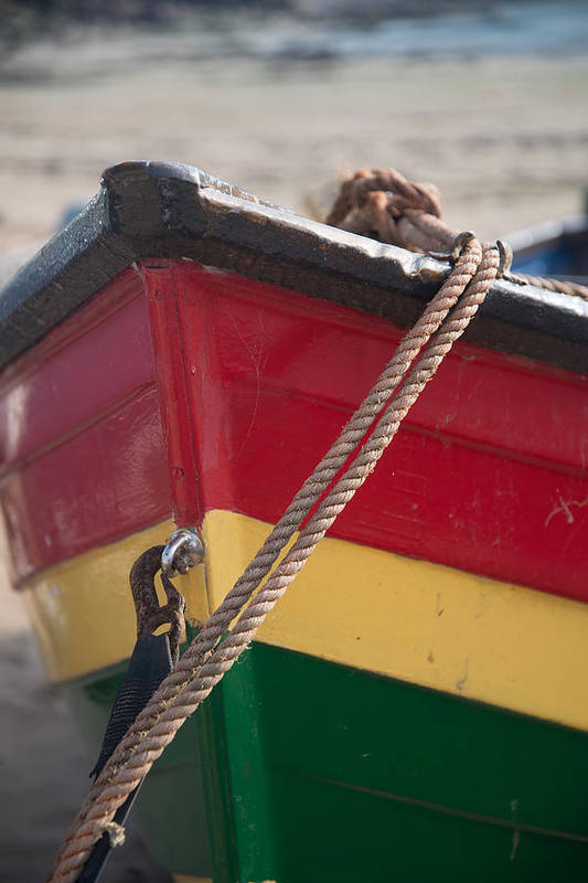 Boat Print featuring the photograph Colorful Rowing Boat Bow Close Up by Matthew Gibson