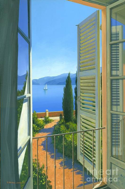 Lake Como Print featuring the painting Como View by Michael Swanson